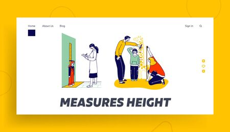 Child Height Measuring Landing Page Template. .Doctor Character Writing in Notebook, Little Girl Stand at Wall