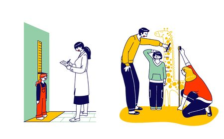 Child Height Measuring Concept. Doctor Character Writing in Notebook, Little Girl Stand at Wall with Scale Illustration