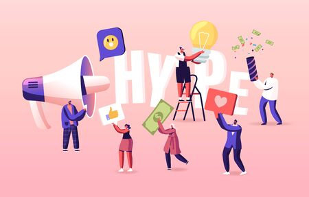 Hype, Social Media Viral or Fake Content Spreading Concept. Tiny Characters with Huge Letters and Megaphone