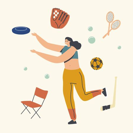 Female Character Outdoor Activity, Happy Woman Playing in Park Throw Flying Plate. Summer Vacation and Spare Time. Leisure Recreation, Summertime Holidays, Vacation Relax. Linear Vector Illustration