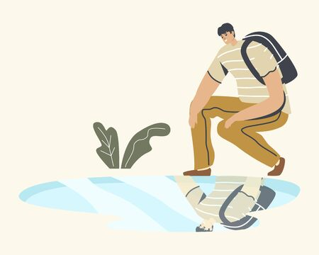 Young Man with Backpack Squat Looking on Reflection in Puddle on Ground after Rain. Male Character Smiling, Narcissism Self-assessment and Personal Appearance Concept. Linear Vector Illustration