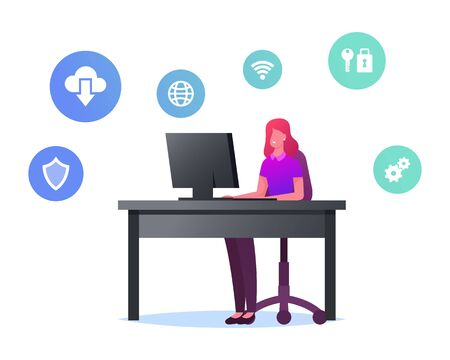 Female Character Working on Pc Use Virtualized Cloud Computing and Vpn Service for Protecting Information. Network Virtualization, Virtual Machines Technologies Concept. Cartoon Vector Illustration Vektorové ilustrace