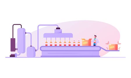 Factory Worker Character Stand at Conveyor with Bottles with Fruit Juice Moving on Belt for Packaging in Carton Boxes. Natural Beverages Manufacture, Plant Producing Juice. Cartoon Vector Illustration  イラスト・ベクター素材