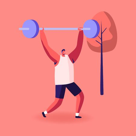 Sportsman Powerlifter Training in Gym in Smart Shoes. Male Character in Sportswear Workout with Weight. Bodybuilding Exercises, Sport Activity, Healthy Lifestyle Concept. Cartoon Vector Illustration