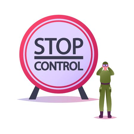 Border Guard Protect Territory. Tiny Male Character in Military Uniform with Binoculars Keep Watch on Stop Control Post. Soldier Protecting Secret Area on Watchtower. Cartoon Vector Illustration 矢量图像