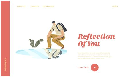 Narcissism Self-assessment and Personal Appearance Landing Page Template. Young Man Squat Looking on Reflection in Puddle on Ground after Rain. Male Character Smiling. Linear Vector Illustration