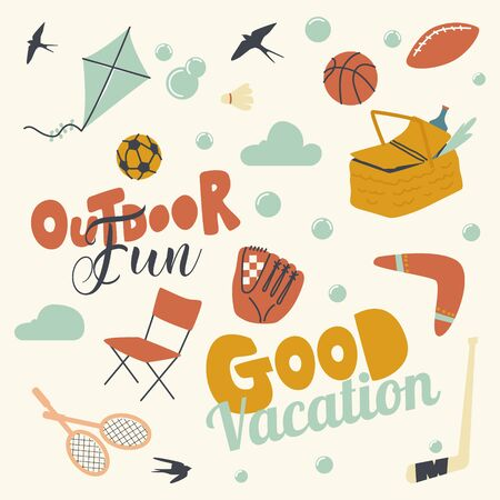 Set Outdoor Activity and Fun, Good Vacation. Kite, Baseball, Soccer and Rugby Balls, Picnic Bag, Chair, Badminton Rackets with Boomerang. Clouds, Birds and Basketball Glove. Linear Vector Illustration