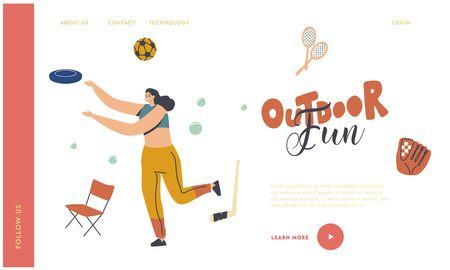Female Character Outdoor Activity Landing Page Template. Happy Woman Playing in Park Throw Flying Plate. Summer Vacation and Spare Time. Summertime Holidays, Vacation Relax. Linear Vector Illustration Vectores
