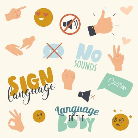 Gesticulate Signs Set with Deaf and Dumb Gestures and Body Language Hand Gesturing and Typography. No Sounds International Communication without Words Print or Pattern. Linear Vector Illustration Vektorgrafik