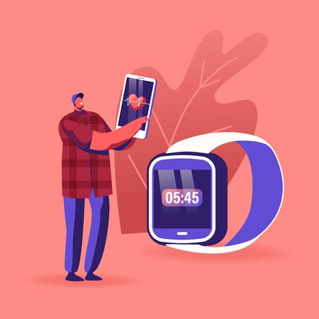 Male Character Using Smart Watch and Mobile App to Monitor Health Performance. Man Looking on Smartphone Heart Beating Indication after Running or Fitness Workout Session. Cartoon Vector Illustration