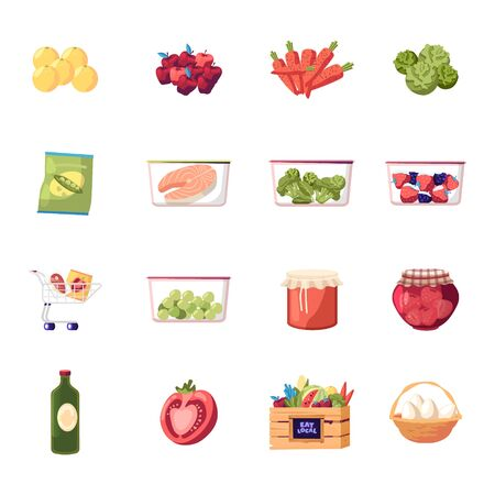 Set of Icons Farm Products Fresh Fruit, Vegetable and Eggs, Raw Fish and Frozen Veggies. Berries Jam in Glass Jar, Lemons and Carrot with Cabbage. Broccoli, Tomato and Oil. Cartoon Vector Illustration