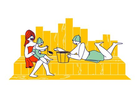 Happy Family with Kid Spend Time in Sauna Relaxing and Applying Hygiene Procedures. Mother, Father and Little Baby Characters Sit on Shelf with Scoop and Wood Basin. Linear People Vector Illustration