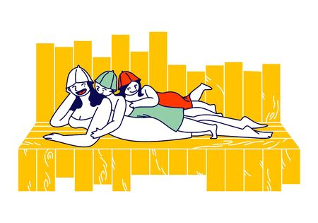 Happy Family of Mother with Kids in Towels Spend Time in Sauna Relaxing and Applying Hygiene Procedures. .Characters Bathing, Children Lying on Mom Back at Shelf. Linear People Vector Illustration