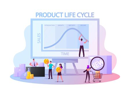 Product Life Cycle Concept. Tiny Characters at Huge Blackboard with Growing and Decline Graph Performing Analytics Statistics. Customers People Buying New Trendy Goods. Cartoon Vector Illustration Illustration