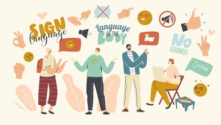Male and Female Characters Perform Hand Gestures. Communication Language without Sounds, Counting Fingers, Gesture Palm, Pointing Hand, Posing and Gesturing People Group. Linear Vector Illustration Vetores