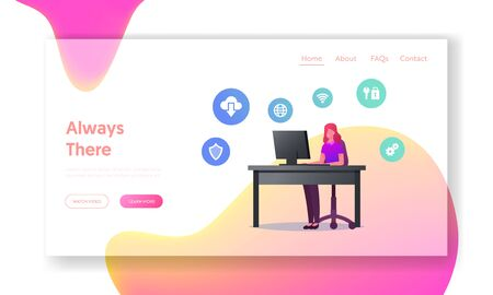 Virtual Technology Landing Page Template. Female Character Working on Pc Use Virtualized Cloud Computing and Vpn Service for Protecting Information. Network Virtualization. Cartoon Vector Illustration Illustration