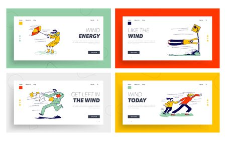 Characters Fighting with Strong Wind Landing Page Template Set. Woman with Destroyed Umbrella Trying to Protect from Storm. Man Hanging on Road Sign, Scattered Docs. Linear People Vector Illustration