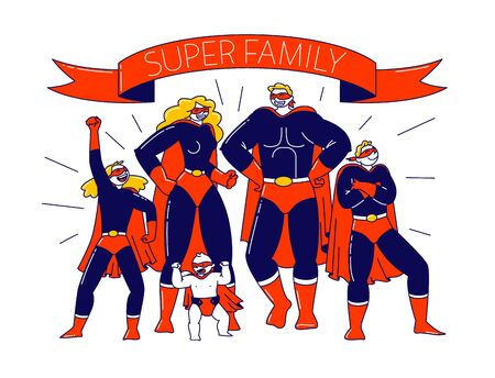 Super Family Concept. Characters Mother, Father, Son, Daughters and Little Baby Playing in Super Heroes. Mommy, Daddy and Children in Superhero Costumes Posing. Linear People Vector Illustration Vectores