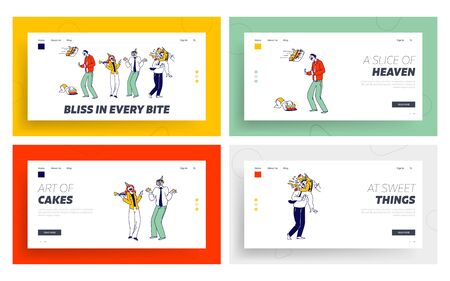 Characters Celebrate Event Landing Page Template Set. Business Man got Cake in Face. Children First Birthday Party. Baby Eat Cake with Hands Smearing Face, Surprise. Linear People Vector Illustration