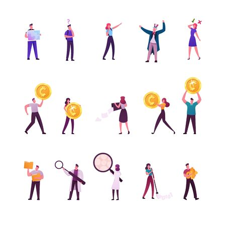 Set of Male and Female Characters Searching Way with Tourist Map, Tiny People with Huge Golden Coins. Scientists Conduct Experiment in Laboratory, Sweeping Binary Code. Cartoon Vector Illustration