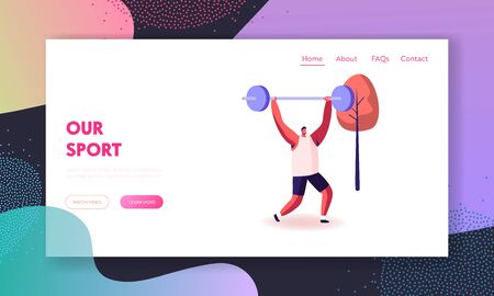 Sportsman Powerlifter Training in Gym in Smart Shoes Landing Page Template. Healthy Male Character in Sportswear Workout with Weight. Bodybuilding Exercises Sport Activity. Cartoon Vector Illustration