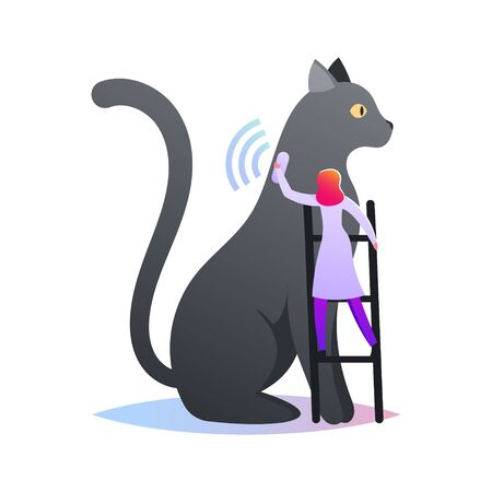 Tiny Female Character Stand on Ladder Put Collar with GPS Tracker on Huge Cat for Controlling Position and Location