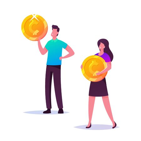 Male and Female Business Characters Holding Golden Coins, People and Money Savings. Bank Employees