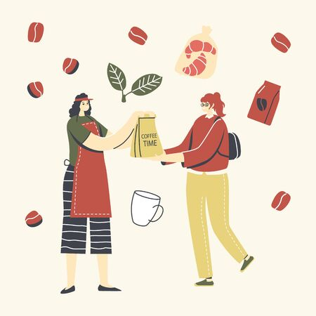 Woman Character Buying Coffee Package in Store, Beverage Retail on White Background. Takeaway Cold and Hot Drinks  イラスト・ベクター素材