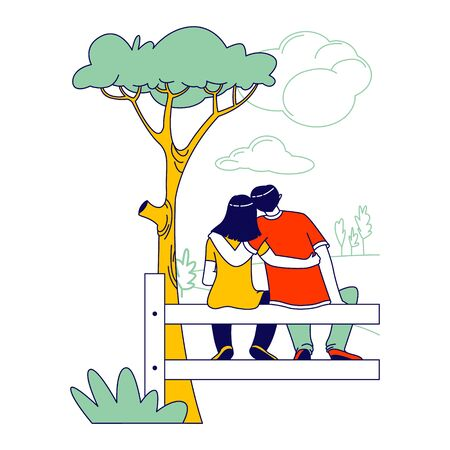 Loving Couple Male and Female Characters Sit on Fence in Countryside Rear View Embracing and Looking on Nature