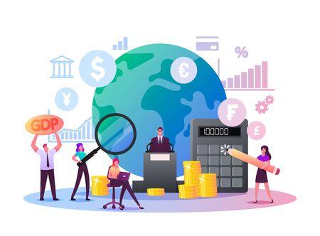 Macroeconomics, Gross Domestic Product. Tiny Characters Finance Gdp Money Budget