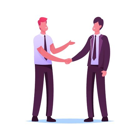 Business Partners Men Handshaking and Partnership Concept. Businesspeople Characters Meeting for Project Discussion, Shaking Hands Agreement during Negotiation. Cartoon People Vector Illustration