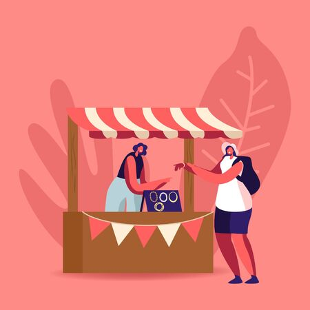 Tourist Female Character Trying Bijouterie on Hand. Woman Seller Stand at Booth Sell Various Jewelry Bracelets and Necklaces Made of Beads and Gems, Handmade Craft. Cartoon People Vector Illustration