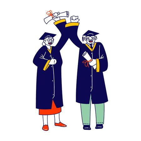 Cheerful Senior Man and Woman Dressed in Mantle and Academical Cap Holding Diploma Scrolls Celebrating Graduation. Aged Student Characters Graduating from University. Linear People Vector Illustration