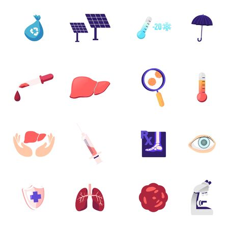 Set of Icons Recycling Litter Bag, Solar Panels and Thermometer with Umbrella, Dropper with Blood, Liver and Magnifying Glass with Germs, Syringe, Xray Foot and Eye, Lungs. Cartoon Vector Illustration