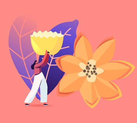 Creation Sculptures of Veggies and Fruits, Carving Craft Exhibition. Tiny Female Character Carry Huge Flower Made of Fruits or Vegetables. Thailand Art, Creative Hobby. Cartoon Vector Illustration