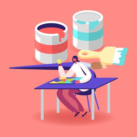 Tiny Female Character Sitting at Desk Assemble Colorful Glass Pieces at Huge Paint Buckets and Brush. Stained Glass Producing Manufacture, Handmade Hobby, Antique Craft. Cartoon Vector Illustration