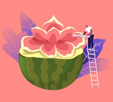 Tiny Male Character Stand on Ladder Carving Flower of Huge Watermelon. Fruits and Vegetable Carve Craft. Traditional Thailand Art, Creative Hobby, Food Sculptures Creation. Cartoon Vector Illustration