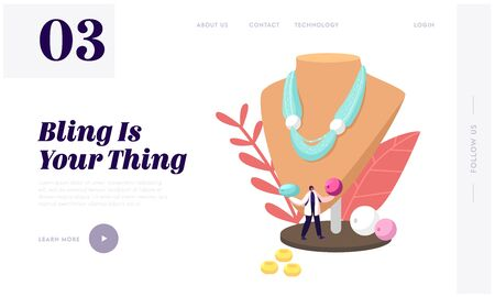 Creative Hobby, Handcraft for Selling, Jewelry Bijouterie Landing Page Template. Tiny Female Character Holding Beads at Huge Mannequin with Beautiful Handmade Necklace. Cartoon Vector Illustration