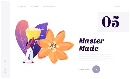 Veggies and Fruits Carving Craft Exhibition Landing Page Template. Tiny Female Character Carry Huge Flower Made of Fruits or Vegetables. Thailand Art, Creative Hobby. Cartoon Vector Illustration