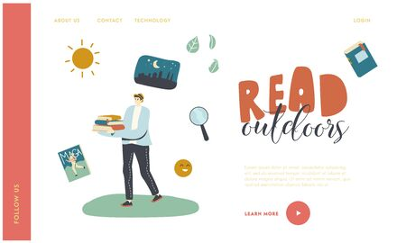 Female Character Outdoor Reading, Education and Hobby Landing Page Template. Girl Carry Books Pile. School, College or University Student Prepare for Exams, Get Knowledge. Linear Vector Illustration