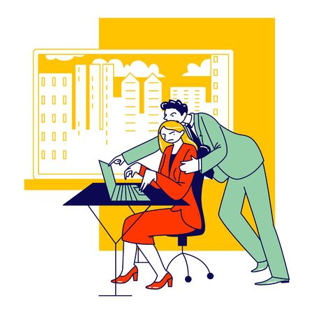 Sexual Assault, Harassment Concept. Male Character Company Boss Put Hand on Woman Shoulder at Workplace. Secretary Girl or Office Woman Victim of Lascivious Exaction. Linear People Vector Illustration 向量圖像