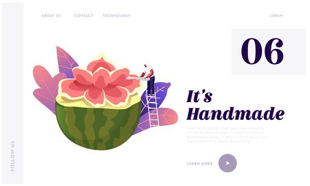 Fruits and Vegetable Carve Craft Landing Page Template. Tiny Male Character Stand on Ladder Carving Flower of Huge Watermelon. Art, Creative Hobby Food Sculpture. Creation. Cartoon Vector Illustration