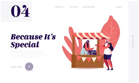 Handmade Craft Landing Page Template. Tourist Female Character Trying Bijouterie on Hand. Woman Seller Stand at Booth Sell Jewelry Made of Colorful Beads and Gems. Cartoon People Vector Illustration