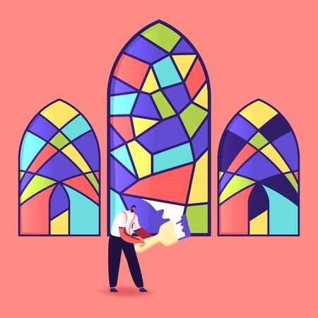Stained Glass Manufacture, Handmade Hobby, Antique Craft. Tiny Male Character Painting Arched Window with Colorful Paints Holding Brush. Home Interior, Exterior Decoration. Cartoon Vector Illustration Vektorgrafik