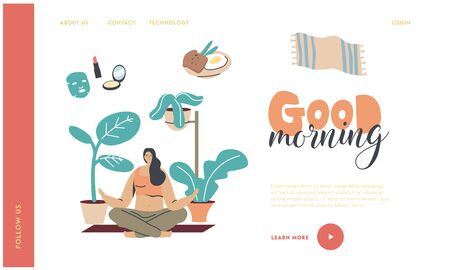 Yoga Class Practice, Healthy Lifestyle Landing Page Template. Young Woman Character Morning Meditation, Relaxation and Emotional Balance. Harmony with Nature and Mind. Linear Vector Illustration