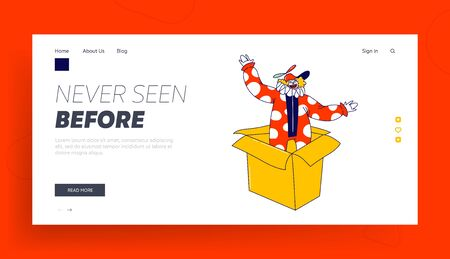 Clown Character Pop Up from Huge Box Landing Page Template. Big Top Circus Show Artist, Jester Performer, Entertainer in Funny Costume and Hat with Propeller and Fake Nose. Linear Vector Illustration Illustration