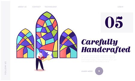 Stained Glass Manufacture Landing Page Template. Handmade Hobby, Antique Craft. Tiny Male Character Painting Arched Window with Colorful Paints. Interior, Exterior Decor. Cartoon Vector Illustration