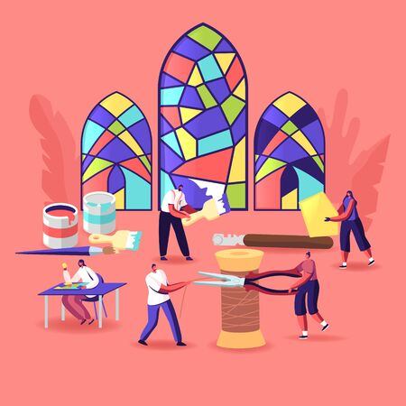 Stained Glass Producing Concept. Tiny Characters with Huge Tools and Instruments Create Beautiful Windows made of Colorful Painted Pieces. Glasswork, Creative Hobby. Cartoon People Vector Illustration