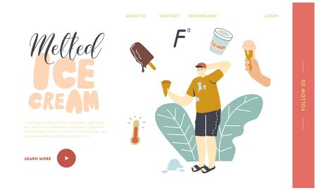 Refreshing Sweet Frozen Food, Popsicle Icecream Landing Page Template. Male Character with Waffle Cone in Hand Deciding what Ice Cream to Choose in Hot Summer Day, Heat. Linear Vector Illustration