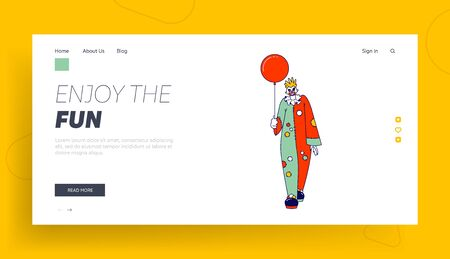 Scary Clown with Balloon Landing Page Template. Male Animator Wearing Funster Costume in Patches, Wig, Red Nose and Creepy Face. Halloween It Movie Character, Freak, Horror. Linear Vector Illustration Illustration